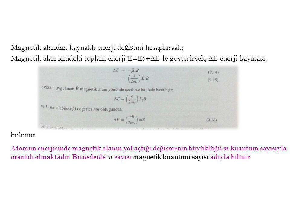 Magnetik alandan kaynaklı enerji değişimi hesaplarsak; Magnetik alan içindeki toplam enerji E=E0+∆E le gösterirsek, ∆E enerji kayması; bulunur.