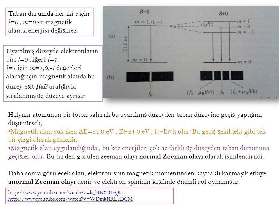 Uyarılmış düzeyde elektronların biri l=0 diğeri l=1.