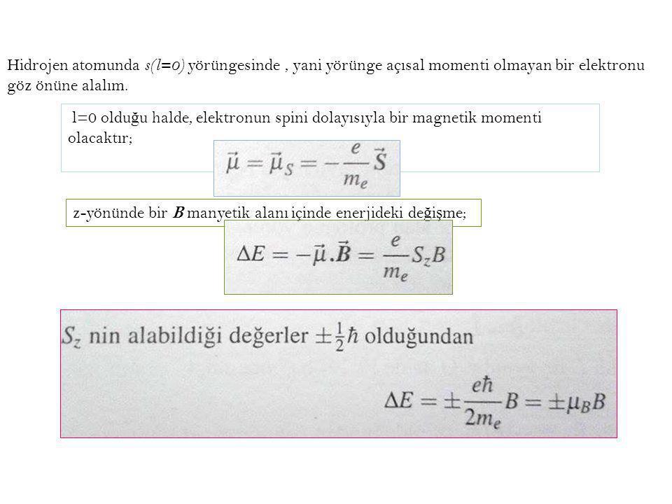 Hidrojen atomunda s(l=0) yörüngesinde , yani yörünge açısal momenti olmayan bir elektronu göz önüne alalım.