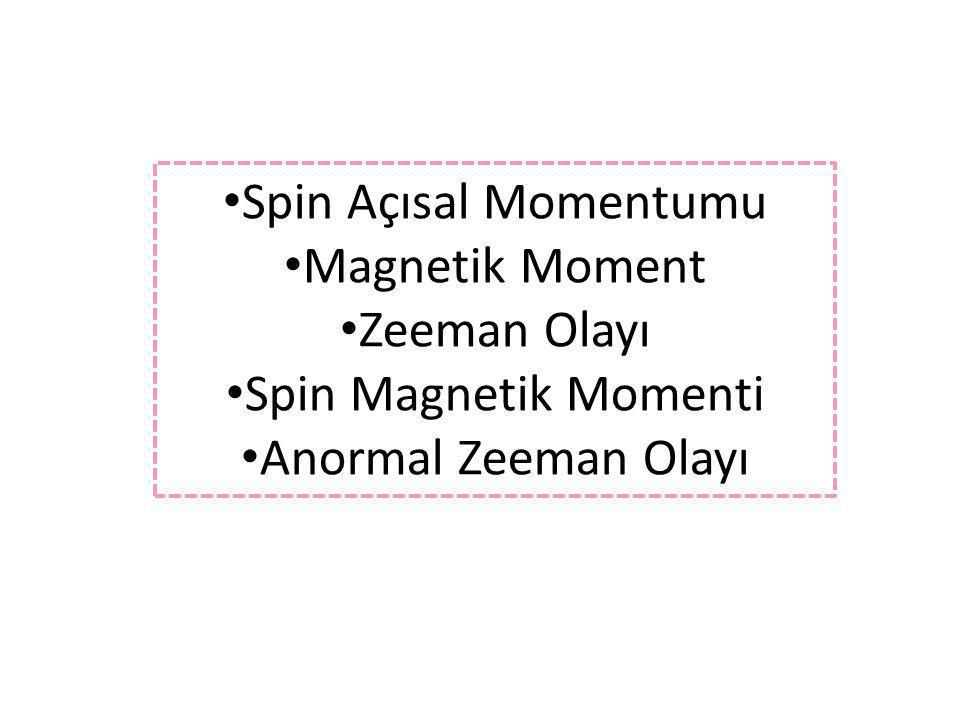 Spin Açısal Momentumu Magnetik Moment Zeeman Olayı Spin Magnetik Momenti Anormal Zeeman Olayı