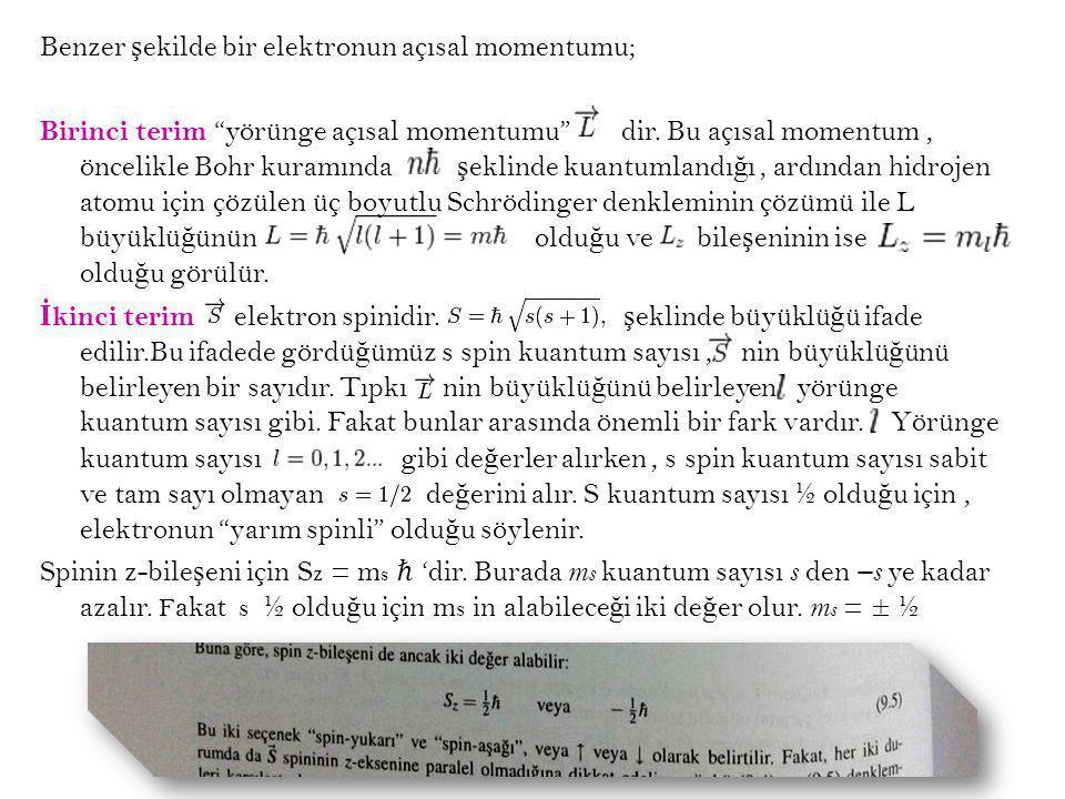 Benzer şekilde bir elektronun açısal momentumu; Birinci terim yörünge açısal momentumu dir.