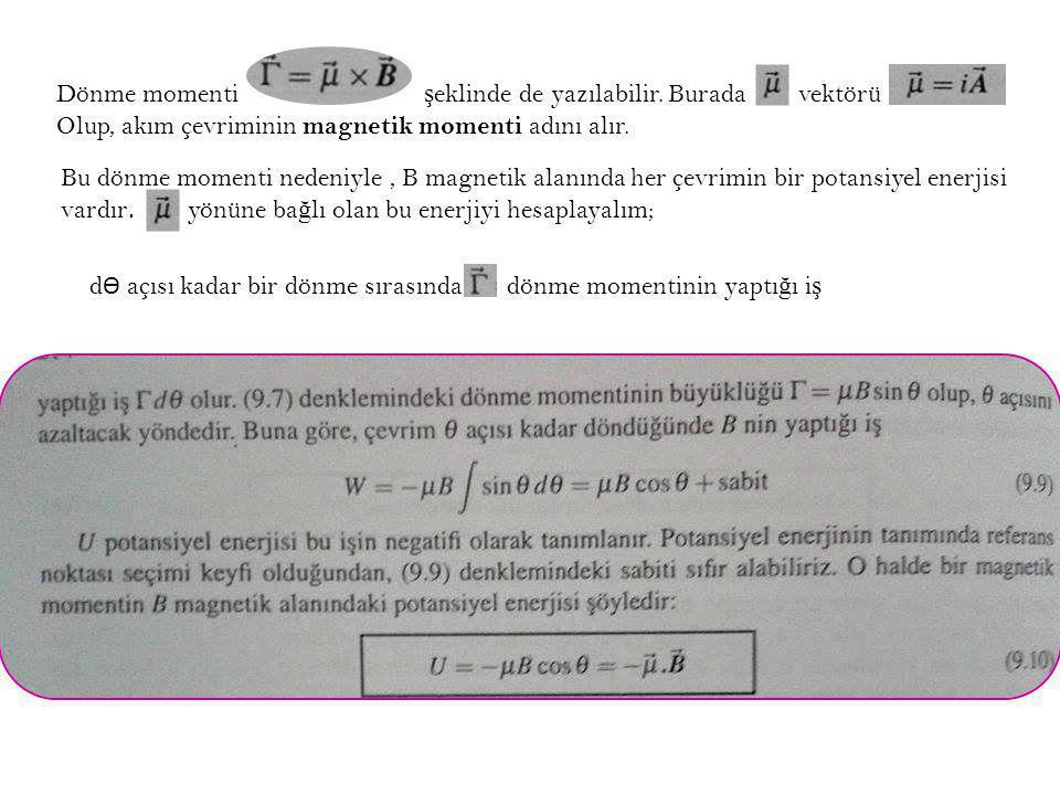 Dönme momenti şeklinde de yazılabilir. Burada vektörü