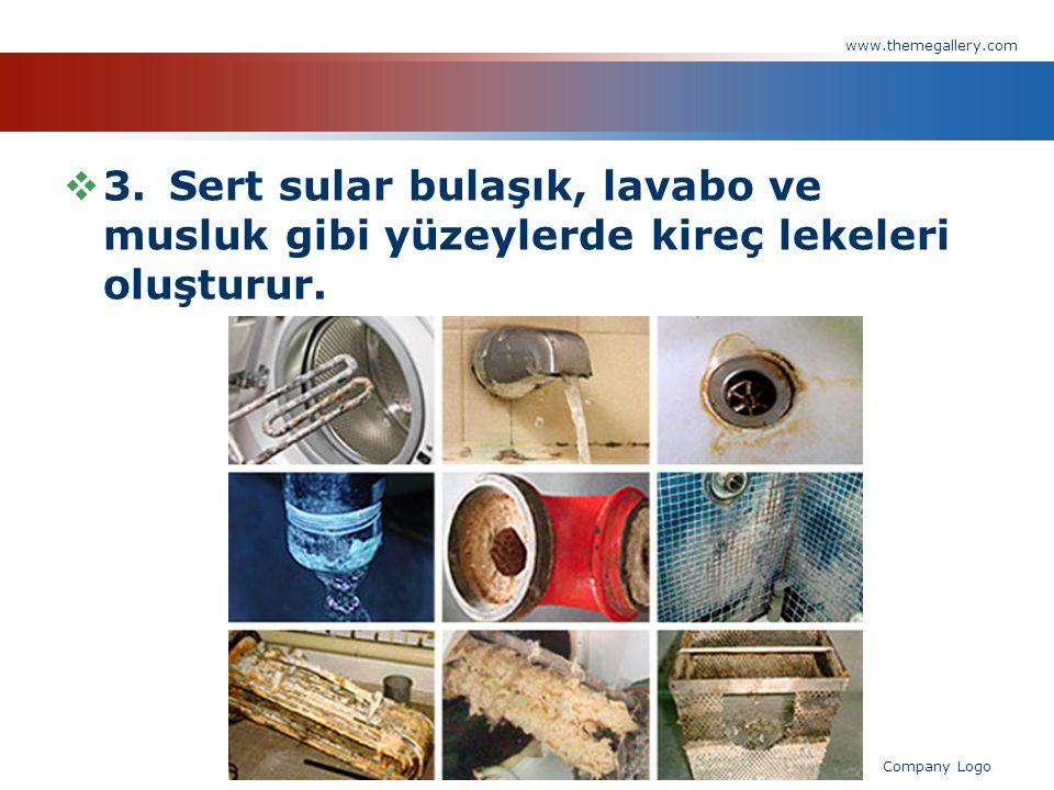 www.themegallery.com 3. Sert sular bulaşık, lavabo ve musluk gibi yüzeylerde kireç lekeleri oluşturur.