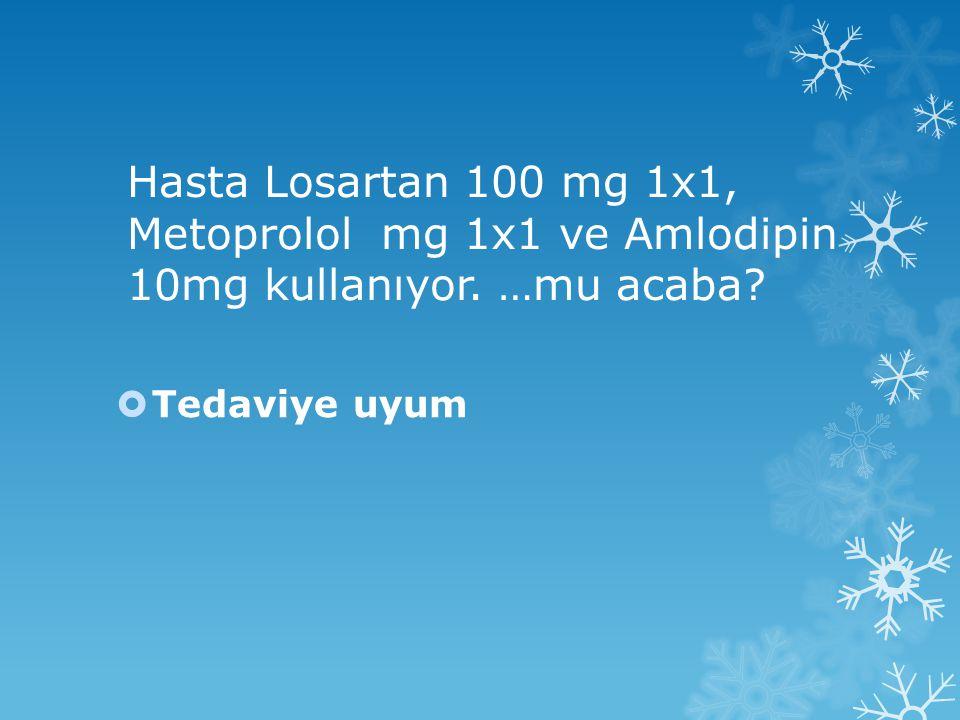 Tedaviye uyum Hasta Losartan 100 mg 1x1, Metoprolol mg 1x1 ve Amlodipin 10mg kullanıyor.