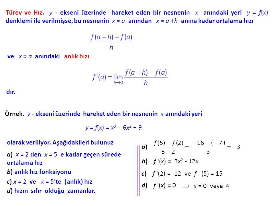Türev ve Hız. y - ekseni üzerinde hareket eden bir nesnenin x anındaki yeri y = f(x) denklemi ile verilmişse, bu nesnenin x = a anından x = a +h anına kadar ortalama hızı