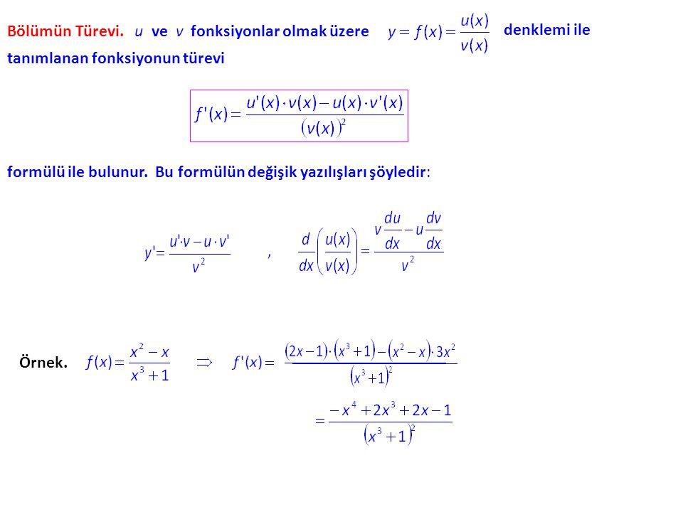 Bölümün Türevi. u ve v fonksiyonlar olmak üzere