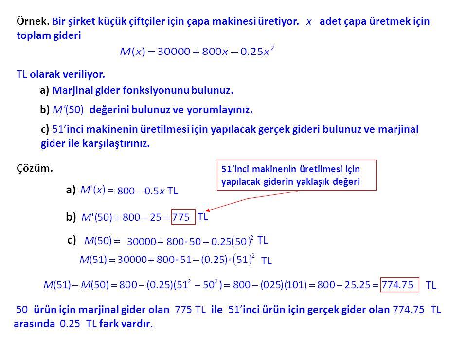 a) Marjinal gider fonksiyonunu bulunuz.