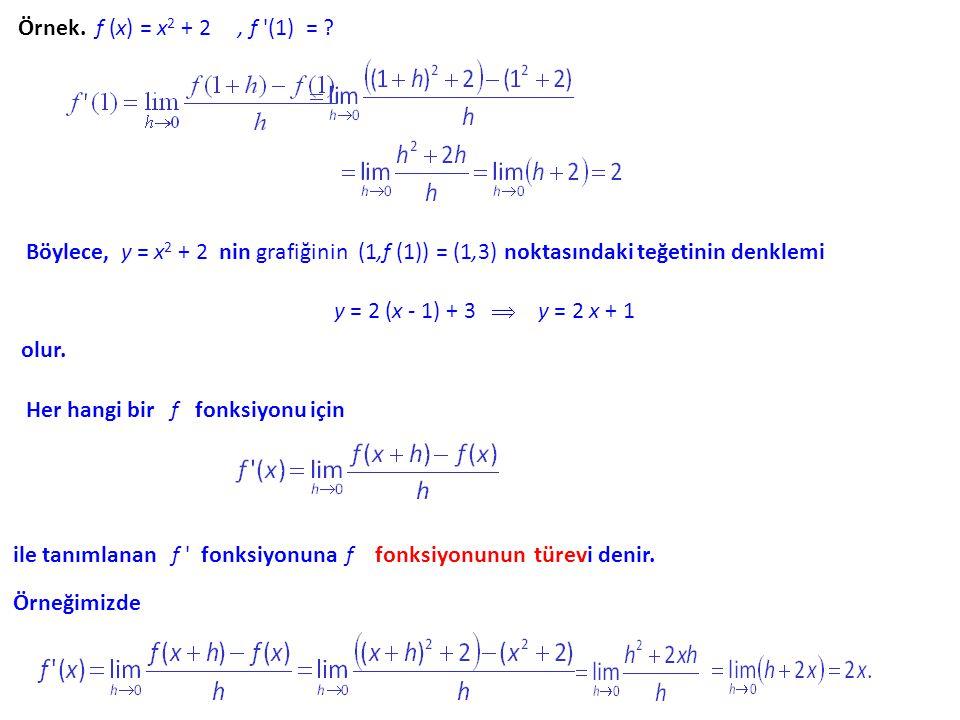 Örnek. f (x) = x2 + 2 , f (1) = Böylece, y = x2 + 2 nin grafiğinin (1,f (1)) = (1,3) noktasındaki teğetinin denklemi.