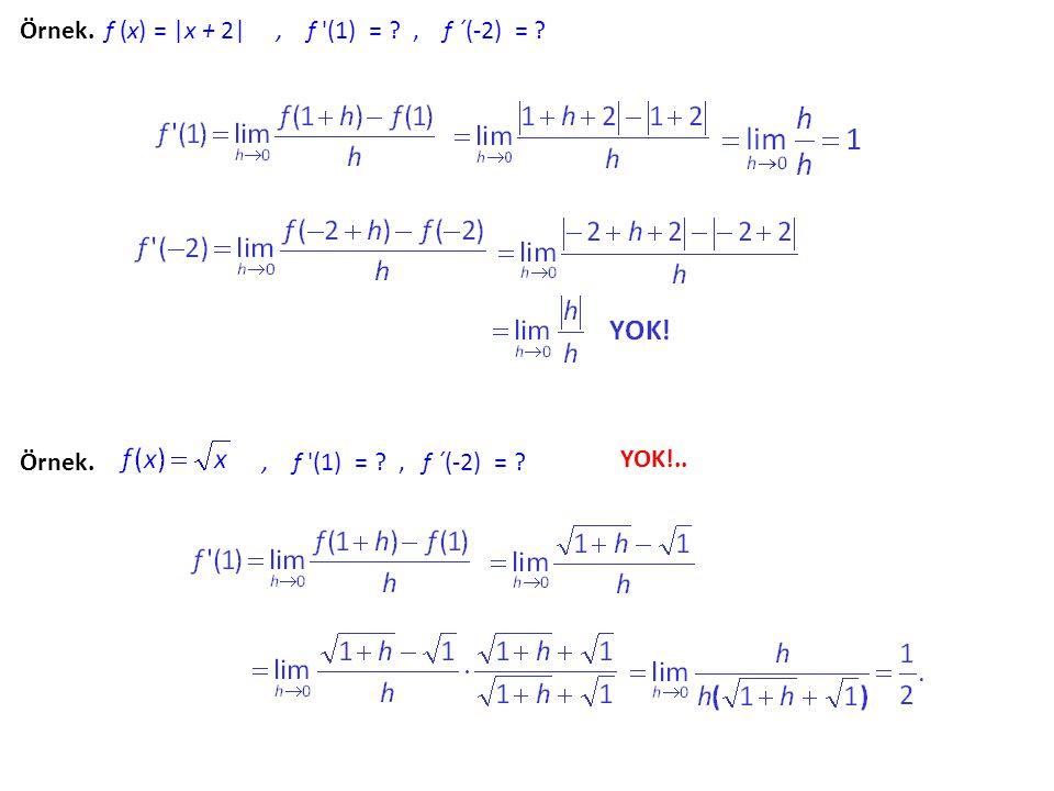 Örnek. f (x) = |x + 2| , f (1) = , f ´(-2) =