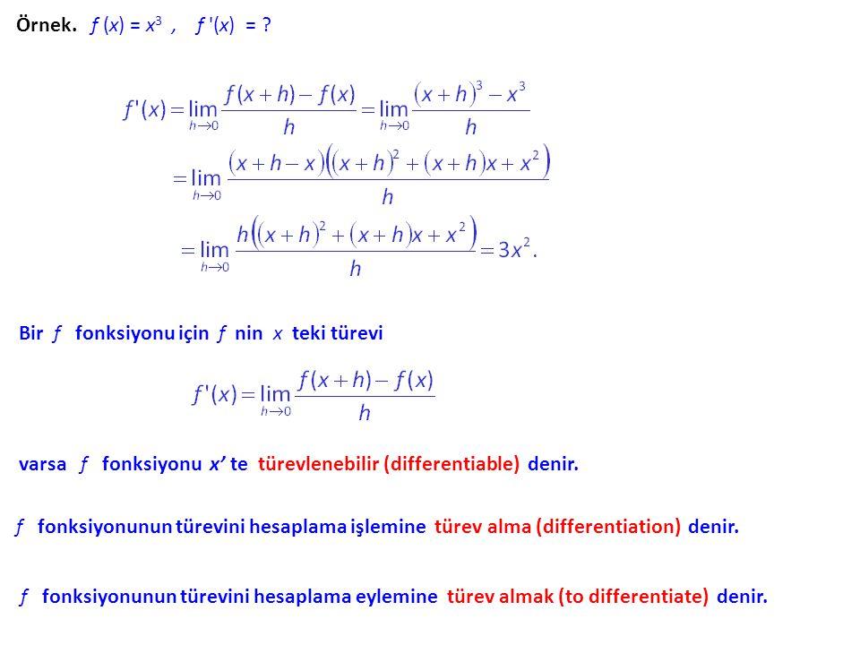 Örnek. f (x) = x3 , f (x) = Bir f fonksiyonu için f nin x teki türevi.