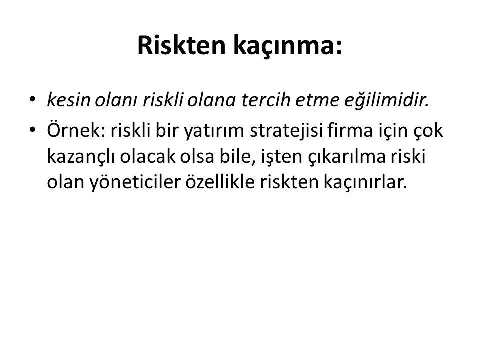 Riskten kaçınma: kesin olanı riskli olana tercih etme eğilimidir.