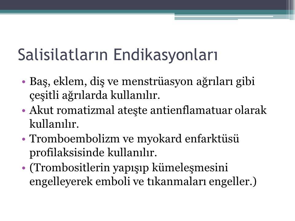Salisilatların Endikasyonları