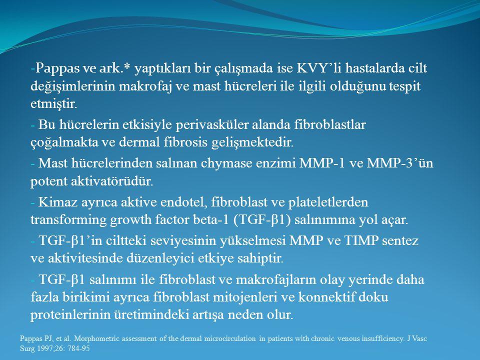 Pappas ve ark.* yaptıkları bir çalışmada ise KVY'li hastalarda cilt değişimlerinin makrofaj ve mast hücreleri ile ilgili olduğunu tespit etmiştir.