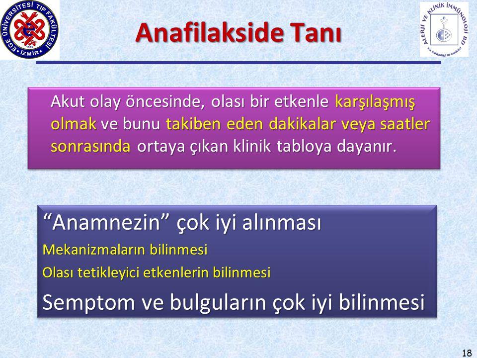 Anafilakside Tanı Anamnezin çok iyi alınması