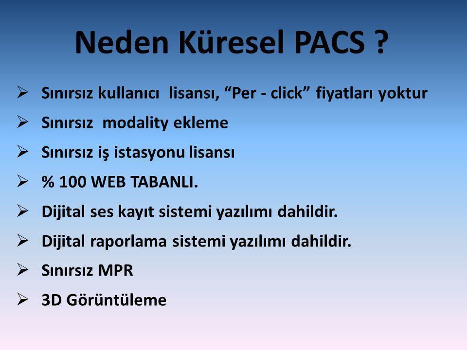 Neden Küresel PACS Sınırsız kullanıcı lisansı, Per - click fiyatları yoktur. Sınırsız modality ekleme.