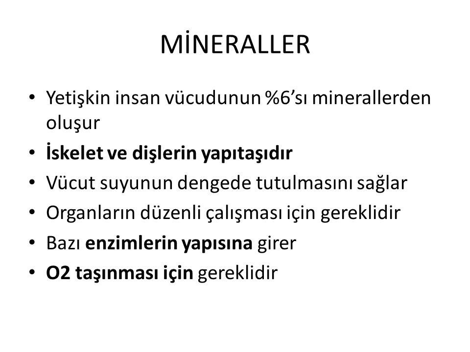MİNERALLER Yetişkin insan vücudunun %6'sı minerallerden oluşur