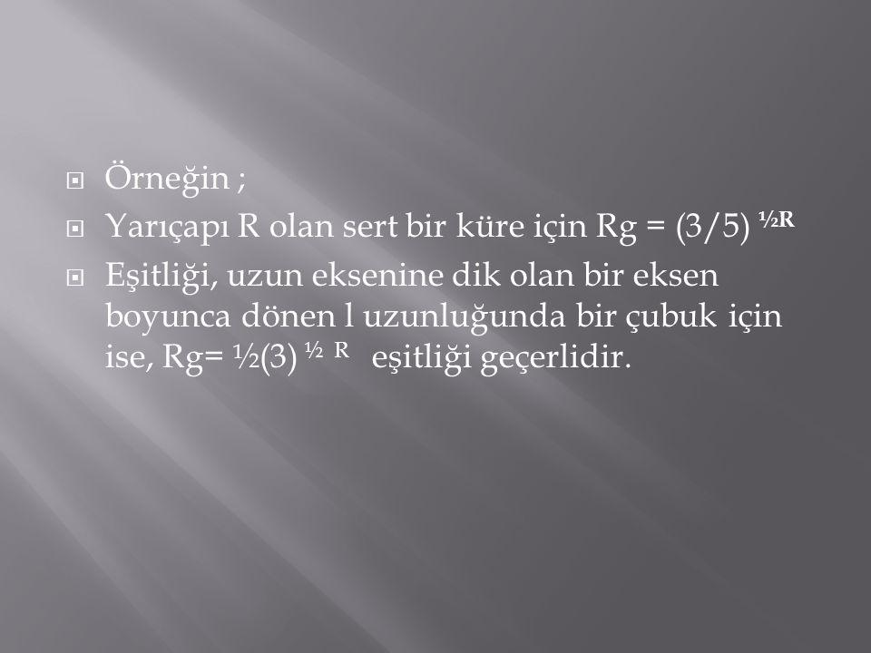 Örneğin ; Yarıçapı R olan sert bir küre için Rg = (3/5) ½R.