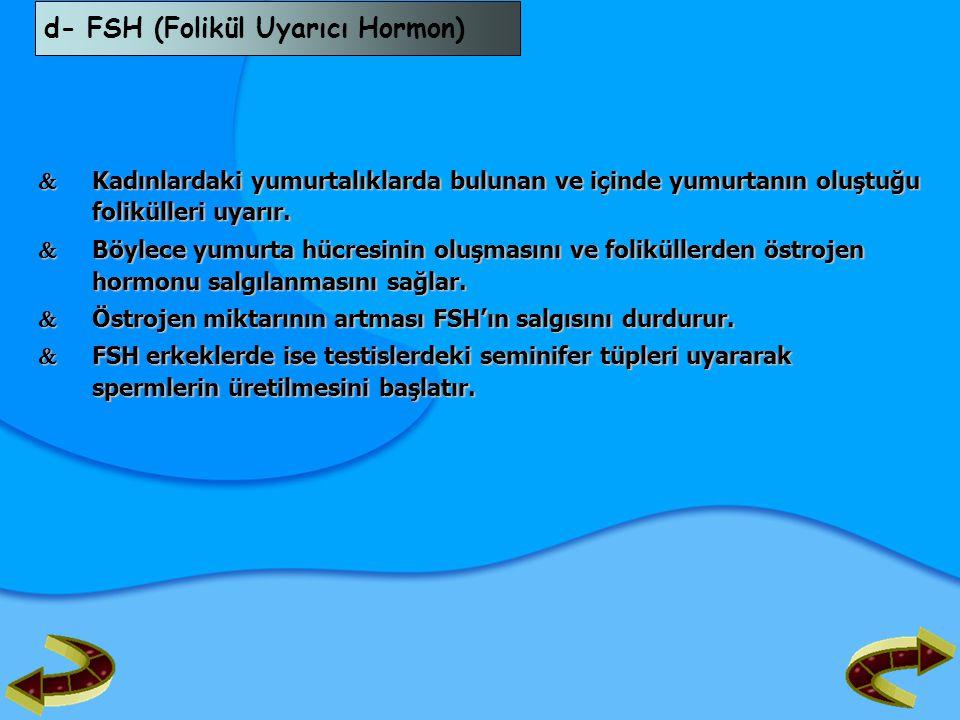 d- FSH (Folikül Uyarıcı Hormon)
