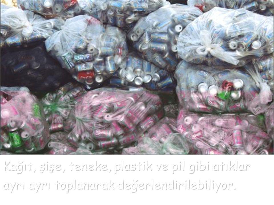 Kağıt, şişe, teneke, plastik ve pil gibi atıklar ayrı ayrı toplanarak değerlendirilebiliyor.