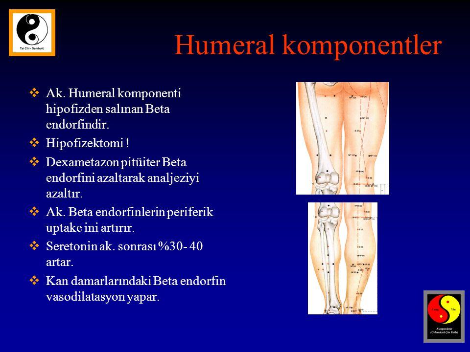 Humeral komponentler Ak. Humeral komponenti hipofizden salınan Beta endorfindir. Hipofizektomi !