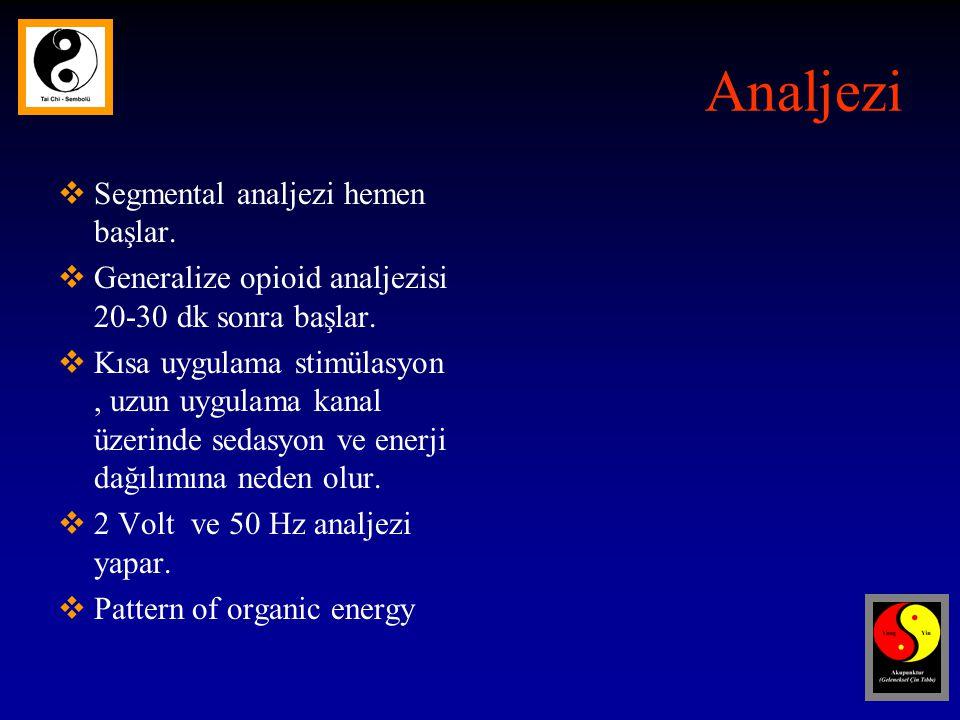 Analjezi Segmental analjezi hemen başlar.