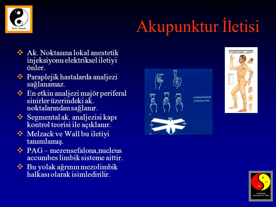 Akupunktur İletisi Ak. Noktasına lokal anestetik injeksiyonu elektriksel iletiyi önler. Paraplejik hastalarda analjezi sağlanamaz.