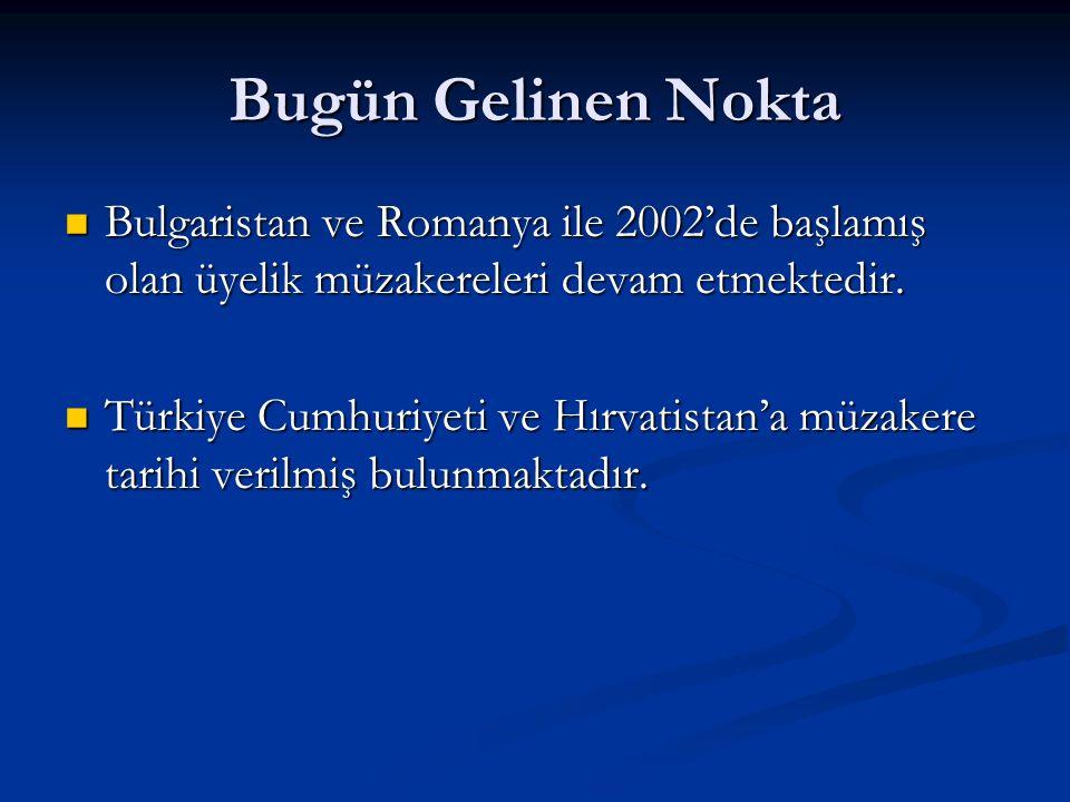 Bugün Gelinen NoktaBulgaristan ve Romanya ile 2002'de başlamış olan üyelik müzakereleri devam etmektedir.