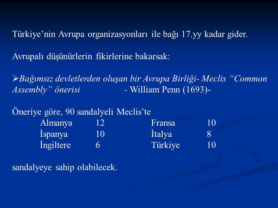 Türkiye'nin Avrupa organizasyonları ile bağı 17.yy kadar gider.