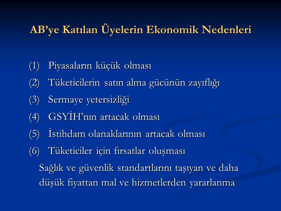 AB'ye Katılan Üyelerin Ekonomik Nedenleri