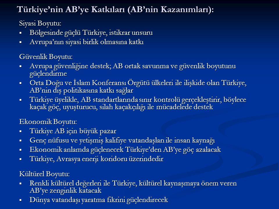 Türkiye'nin AB'ye Katkıları (AB'nin Kazanımları):