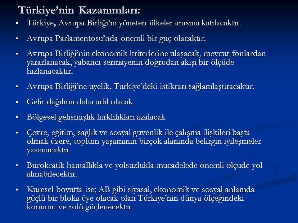 Türkiye'nin Kazanımları: