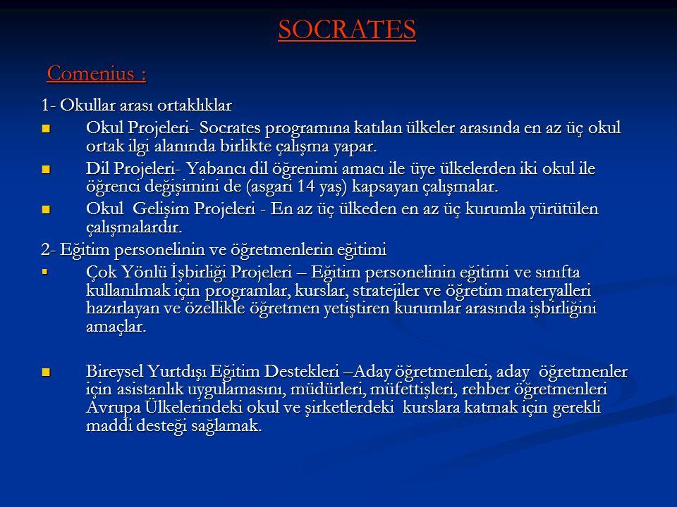SOCRATES Comenius : 1- Okullar arası ortaklıklar
