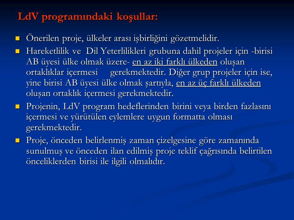 LdV programındaki koşullar: