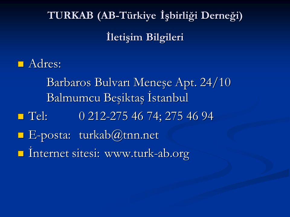 TURKAB (AB-Türkiye İşbirliği Derneği) İletişim Bilgileri