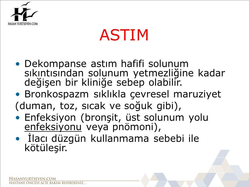 ASTIM Dekompanse astım hafifi solunum sıkıntısından solunum yetmezliğine kadar değişen bir kliniğe sebep olabilir.