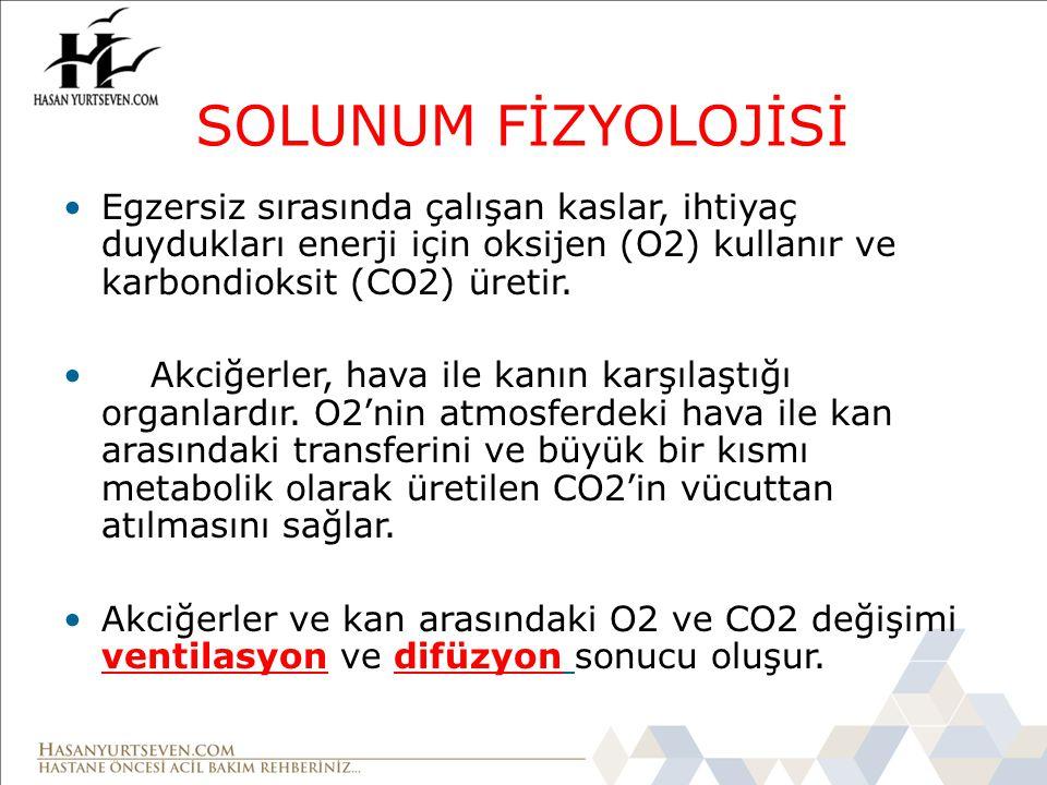 SOLUNUM FİZYOLOJİSİ Egzersiz sırasında çalışan kaslar, ihtiyaç duydukları enerji için oksijen (O2) kullanır ve karbondioksit (CO2) üretir.