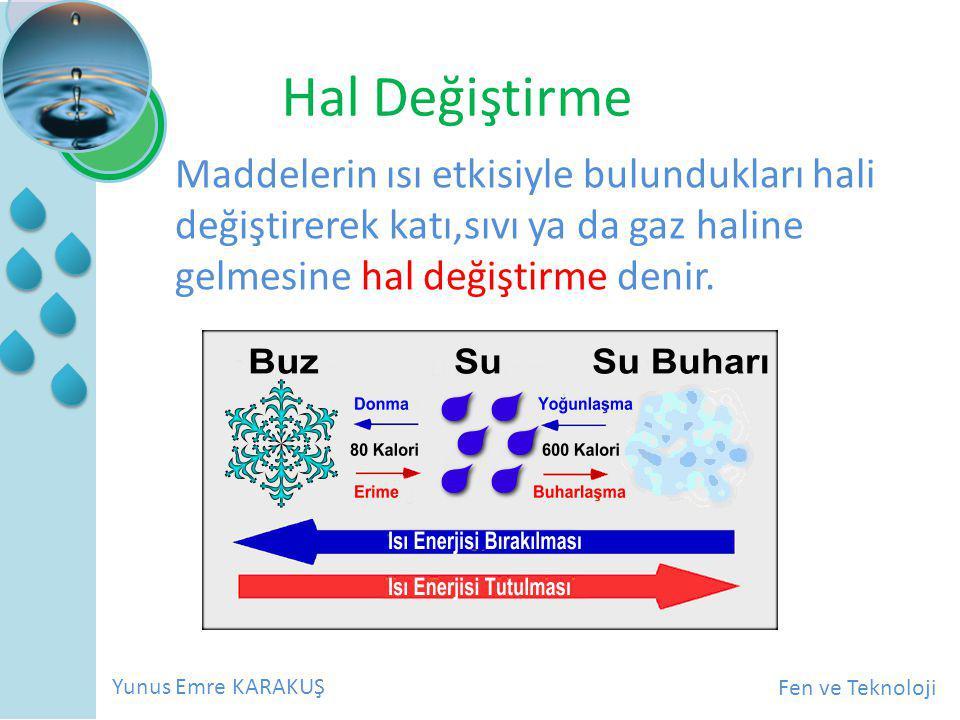 Hal Değiştirme Maddelerin ısı etkisiyle bulundukları hali değiştirerek katı,sıvı ya da gaz haline gelmesine hal değiştirme denir.
