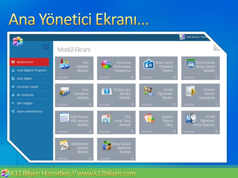 Ana Yönetici Ekranı… K12 Bilişim Hizmetleri // www.k12bilisim.com