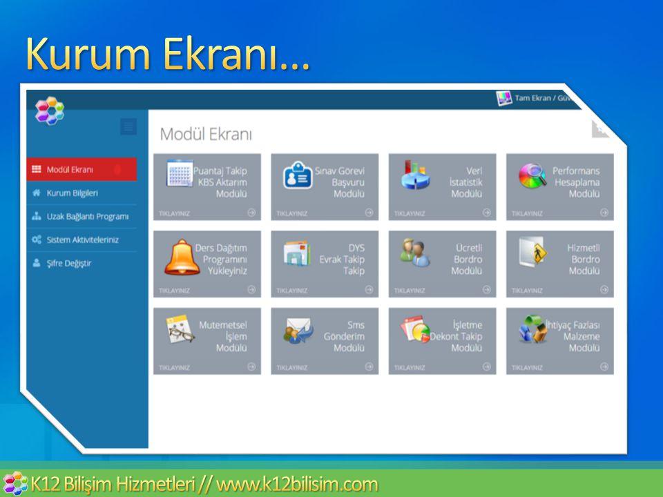 Kurum Ekranı… K12 Bilişim Hizmetleri // www.k12bilisim.com