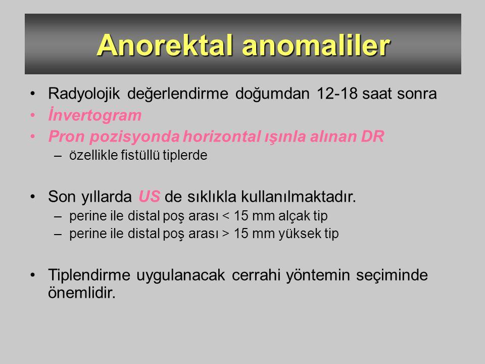 Anorektal anomaliler Radyolojik değerlendirme doğumdan 12-18 saat sonra. İnvertogram. Pron pozisyonda horizontal ışınla alınan DR.