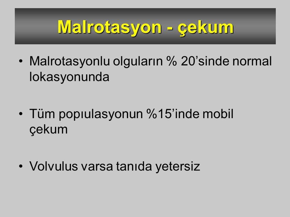 Malrotasyon - çekum Malrotasyonlu olguların % 20'sinde normal lokasyonunda. Tüm popıulasyonun %15'inde mobil çekum.