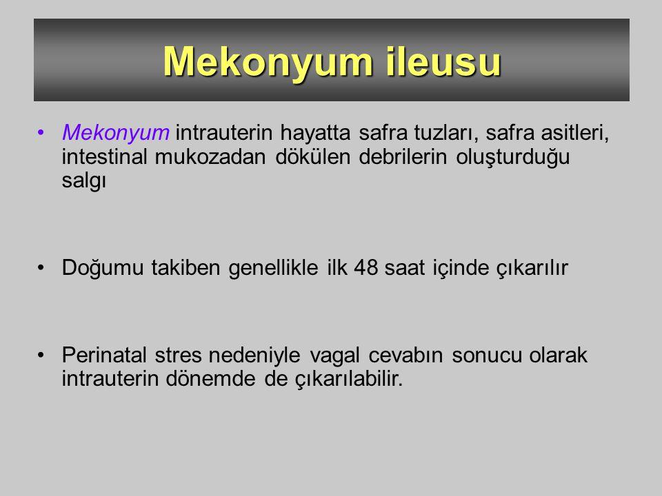 Mekonyum ileusu Mekonyum intrauterin hayatta safra tuzları, safra asitleri, intestinal mukozadan dökülen debrilerin oluşturduğu salgı.