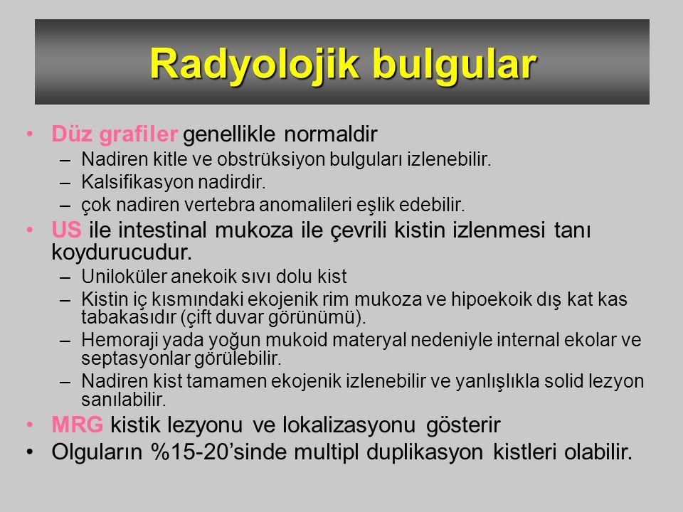 Radyolojik bulgular Düz grafiler genellikle normaldir