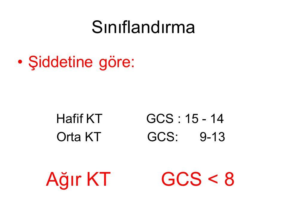 Ağır KT GCS < 8 Sınıflandırma Şiddetine göre: