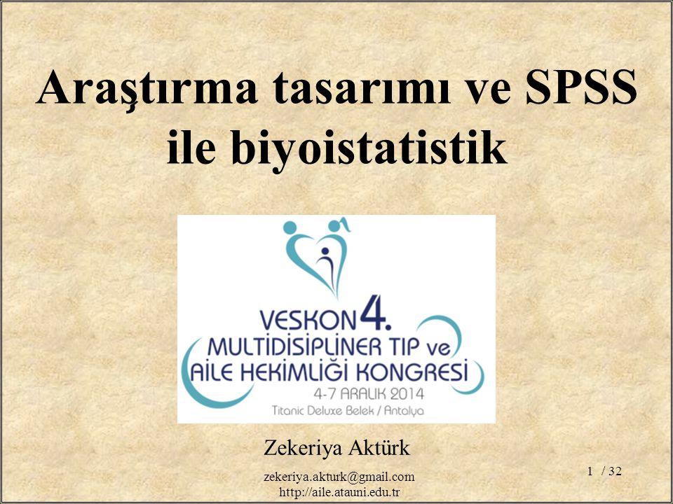 Araştırma tasarımı ve SPSS ile biyoistatistik