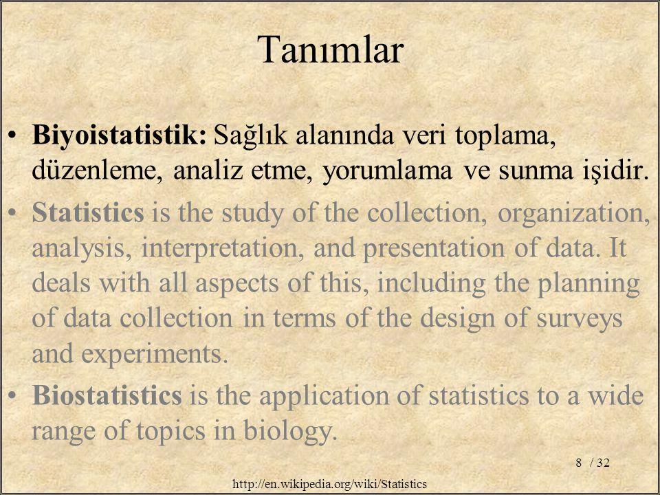 Tanımlar Biyoistatistik: Sağlık alanında veri toplama, düzenleme, analiz etme, yorumlama ve sunma işidir.