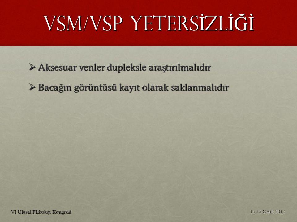 VSM/VSP YETERSİZLİĞİ Aksesuar venler dupleksle araştırılmalıdır