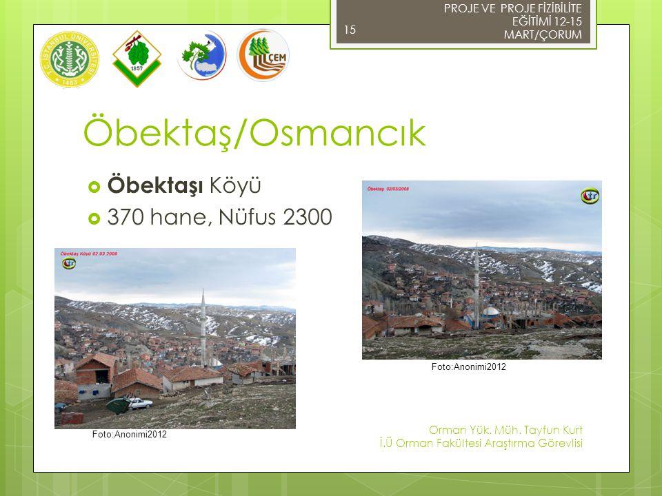 Öbektaş/Osmancık Öbektaşı Köyü 370 hane, Nüfus 2300