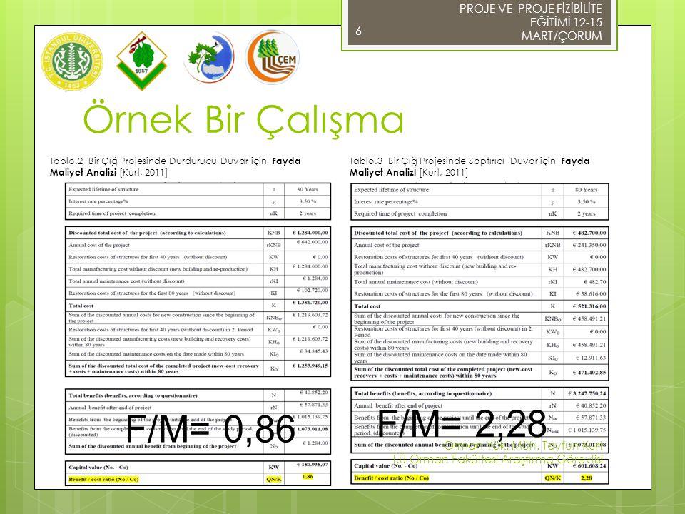 Örnek Bir Çalışma F/M= 2,28 F/M= 0,86