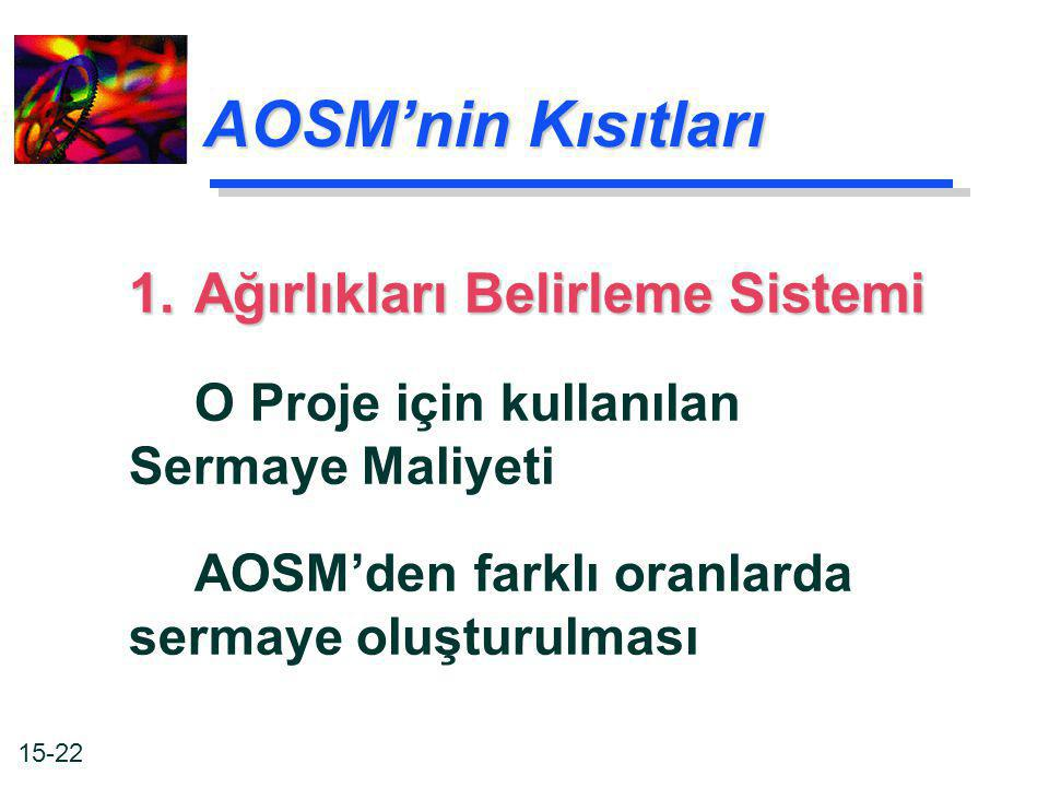AOSM'nin Kısıtları 1. Ağırlıkları Belirleme Sistemi